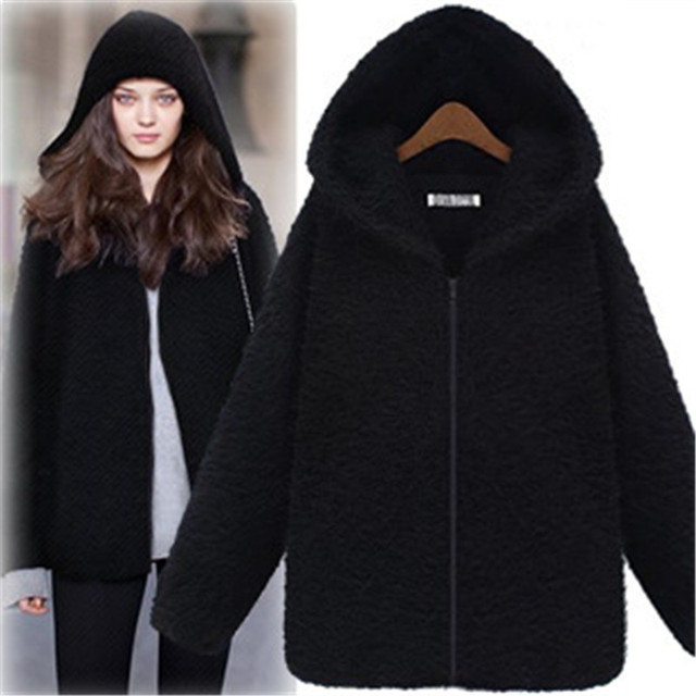 Winter Womens Long Sleeve Faux Fur Jacket Hooded Coat 2017 Female Black England Style Thick Wide-Waisted Fur Outerwear Overcoat