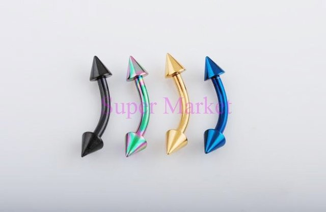 Titanium Eyebrow Piercing Ring Jewelry Multicolor 316L Stainless Steel Cone Barbell Eyebrow 16Gauge Mixed Color  Free Shipping
