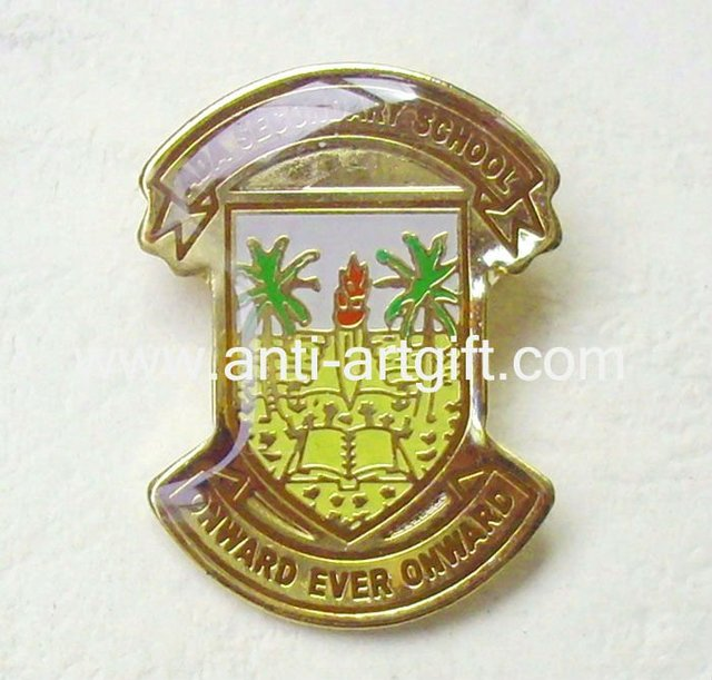 Customized metal brooch pins soft enamel with epoxy Photo badge for clothes