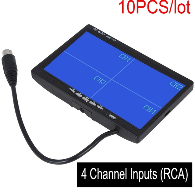 "10pcs 7"" TFT LCD Car Rearview Quad Split Monitor Remote Control 4 Channels RCA Video Inputs - 12V-24V 800*480HD Screen"