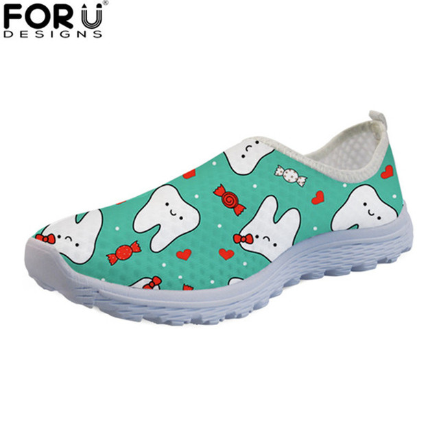 FORUDESIGNS Cute Cartoon Tooth Women Summer Flats Breathable Mesh Shoes Casual Female Slip-on Beach Loafers Fashion Ladies Flat