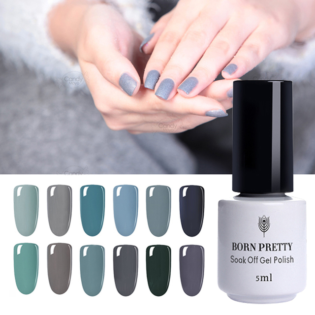 12 Bottles BORN PRETTY Nail UV Gel Polish Set Pure Nail Color Soak off Gel Lacquer  Series Manicure Art Gel UV Lamp Varnish