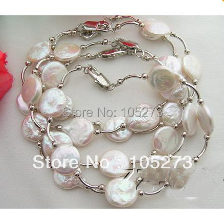 Top Quality Pearls Bracelet AA 13-14MM White Coin Genuine Pearls Tibet Silver Fashion Bracelet 8inch Wholesale New Free Shipping