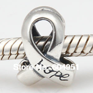 1PCS/lot 925 Sterling Silver Breast Cancer Awareness Ribbon Hope  Charms Beads Fit Pandora Style Bracelets Jewelry