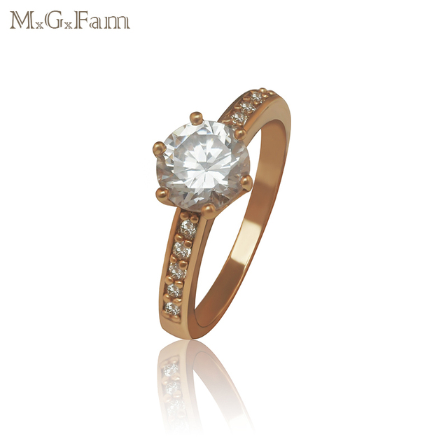 MxGxFam Shinny CZ 6 Claw Ring For Women Gold color 2017 jewelry Environmental Brass