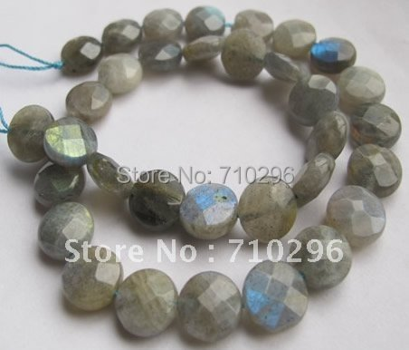 """Loose stone Beads Labradorite Beads12mm Faceted Coin stone Jewerly Beads,15""""/Strand"""