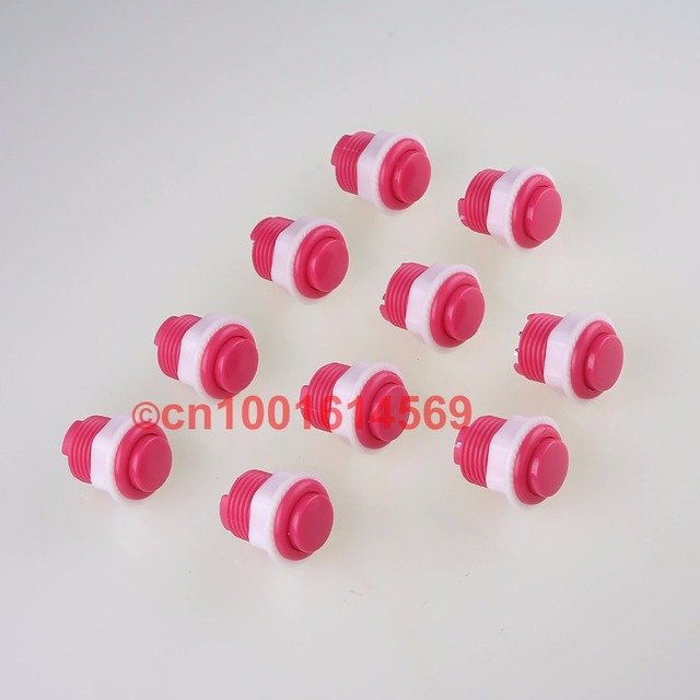 Free shipping 10pcs/lot 24mm Arcade Push Button 2Pin Built-in Small Microswitch For Arcade Game Machine Sale Pink Arcade Button