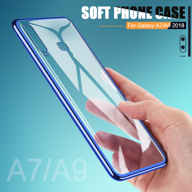 Luxury Plating TPU Case For Samsung Galaxy A7 2018 Ultra Thin Soft Silicone Case For Galaxy A9 2018 Phone Cover Transparent