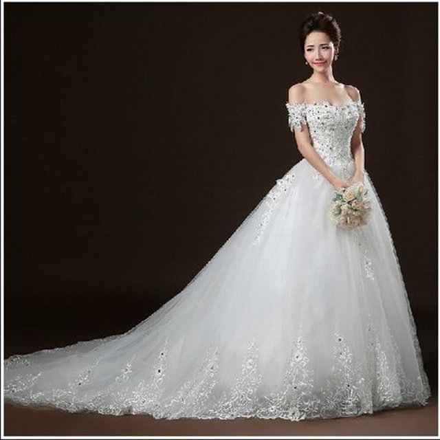 New Elegant Wedding Dresses Off the Shoulder Boat Neck White/Ivory Ball Gown Romantic Princess Formal Dress Bridal Gown