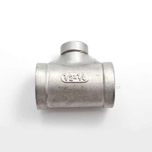 """MEGAIRON  1/2""""X3/8""""X1/2"""" Female Threaded Reducer Tee Pipe Fitting SS304"""