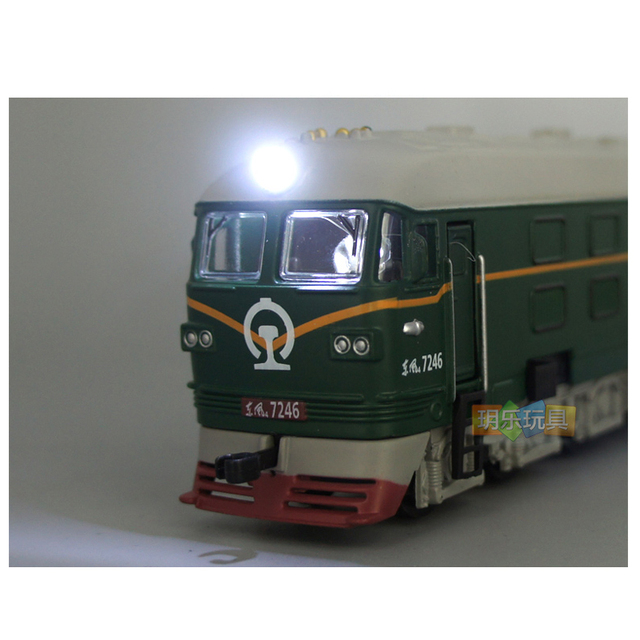 1:87 Dongfeng diesel locomotive classical locomotive alloy sound and light pull back train model children boy toy gift car