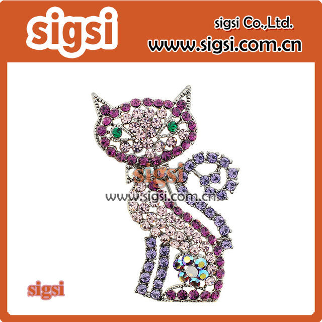 Lovely cat brooch color crystal rhinestone aniaml brooch and pins