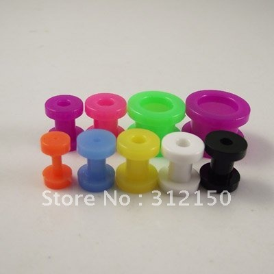 160pcs 8 sizes Wholesale Candy Color Ear Expander Taper Screws Flesh Tunnel Ear Plug Plugs Acrylic Body Piercing Jewelry