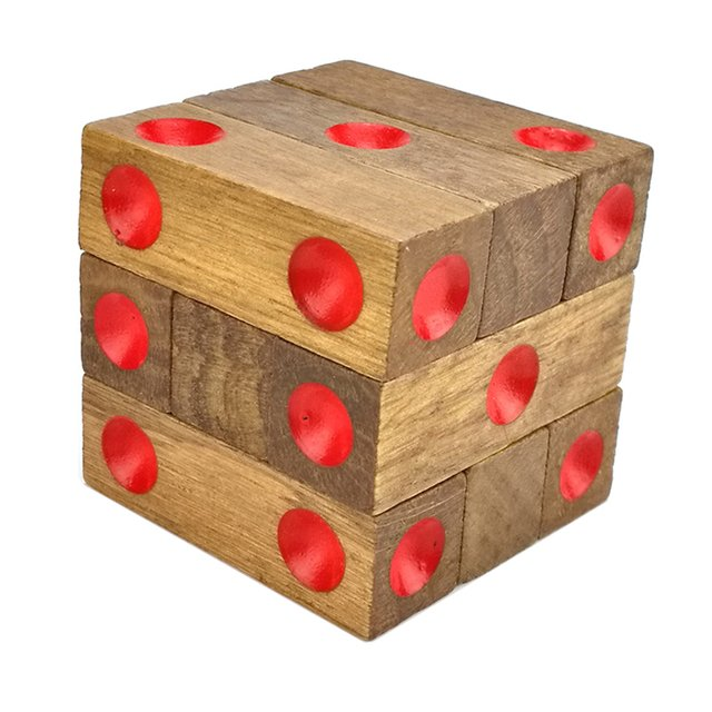 Brain Teaser Baby Wood Toy Unlock Puzzle Game Dice 1-6 Point Classical Toys Funny Kong Ming Lock Cube Toys Children & Adult Toy