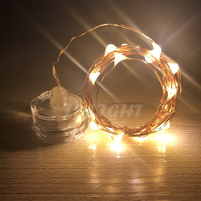 LED Copper wire Candle light string 2M Battery Powered Warm white Waterproof Indoor Xmas Holiday Decor Fairy  LED string lamp