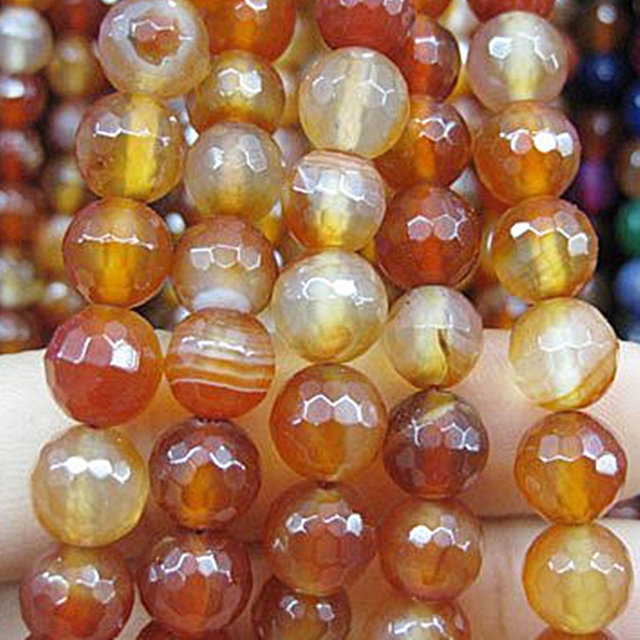 """Fashion costume jewelry natural red stripe carnelian agat stone 6mm faceted round loose beads diy Jewelry 15"""" GS392"""