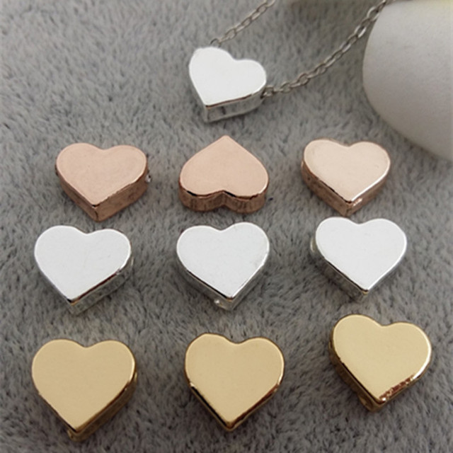 20pcs/lot alloy Metal Charms for Jewelry DIY Making silver color  gold color heart Beads Spacer Bead for necklace