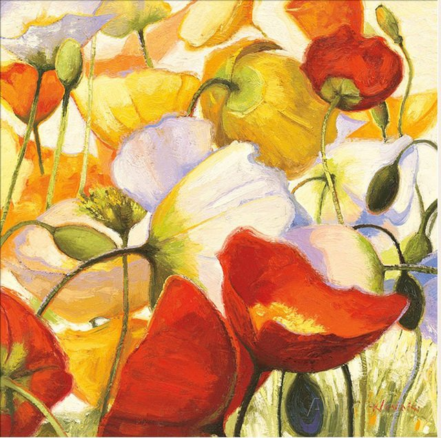 Hot sell famous oil painting flower Poppies Up Close by Shirley Novak Painting canvas High quality hand painted modern Art