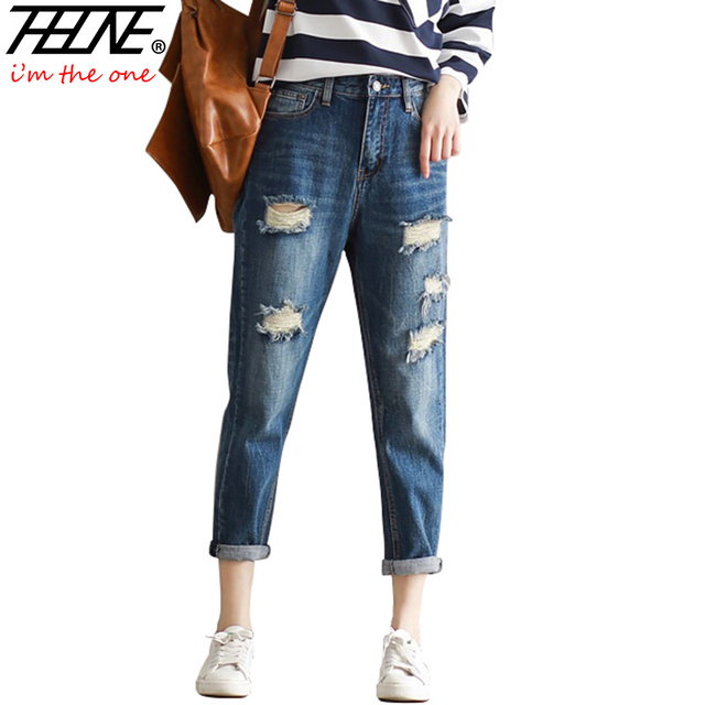 THHONE Ripped Jeans Women Denim Pants Harem Casual Trousers Holes Torned Fashion Big Size 3XL Boyfriend High Waist Jeans Femme
