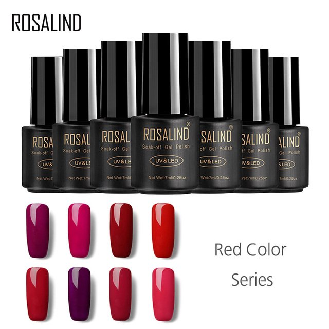 ROSALIND Gel 1S 7ml High Quality Colorful Red Series For UV Gel Soak Off Nail Gel Polish With UV LED Lamp Gel Varnish