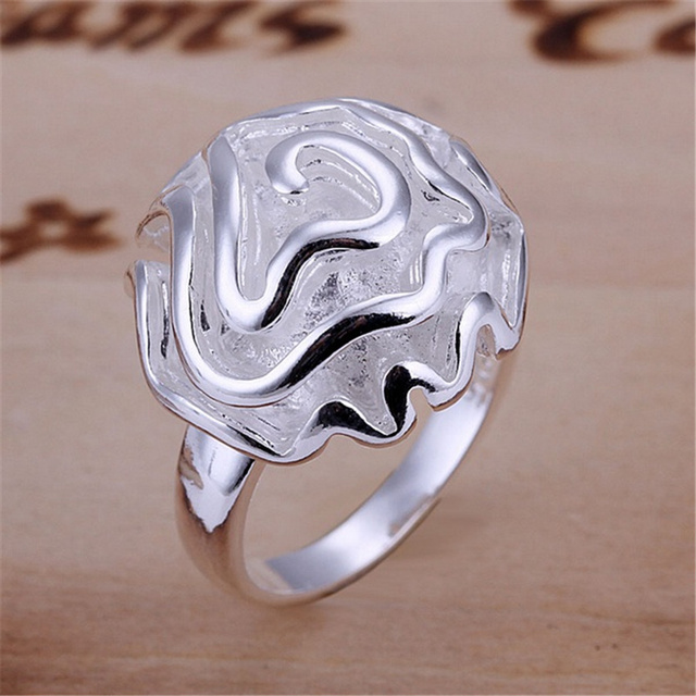 Christmas GIFT  free shipping girl silver color Rose best Ring jewelry factory wholesale hot fashion jewelry R005