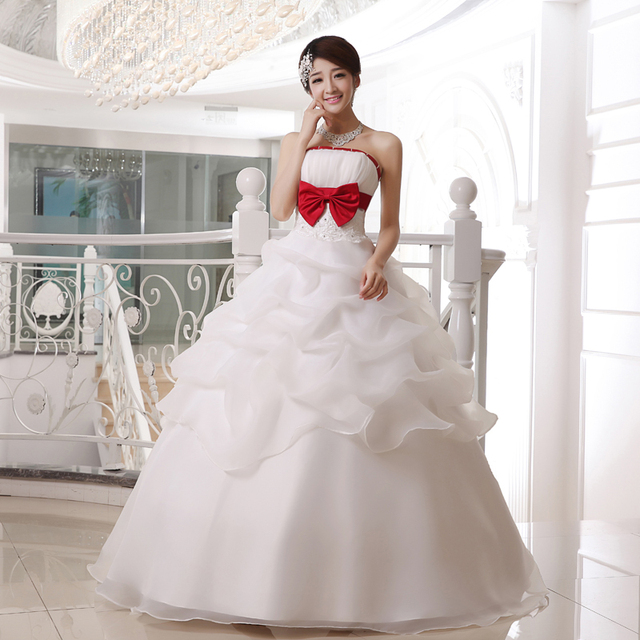 2017 New Princess Wedding Dresses with Red Bow White/Ivory Sweet Bridal Gown Floor Length Ball Gown Strapless Vestidos De Novia