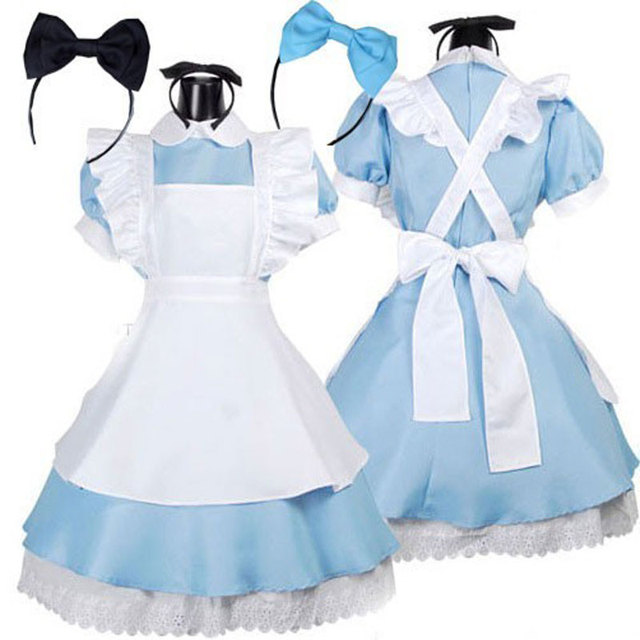 Lolita Dresses Maid Outfit Cosplay Costume Fantasia Carnival Apron Dress Halloween Costumes for Women
