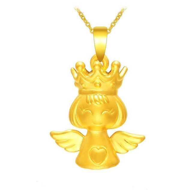 Pure 24K Yellow Gold Pendant 999 Gold 3D Cute Crown Angel GIRL Pendant