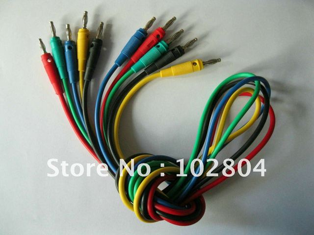 1 Set(5pcs) 5 Color Red & Black & Green & Yellow & Blue Banana plug of banana plug B type silicon lead test cable high voltage