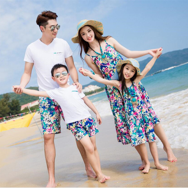 mother father baby family matching clothes women summer long blue bohemian dress child white v neck t shirts for men short pants