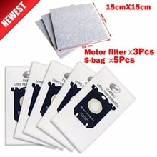 5Pcs universally S-bag+3Pcs motor dust filter Hepa for philips AEG Electrolux vacuum cleaner dust bag accessories Parts