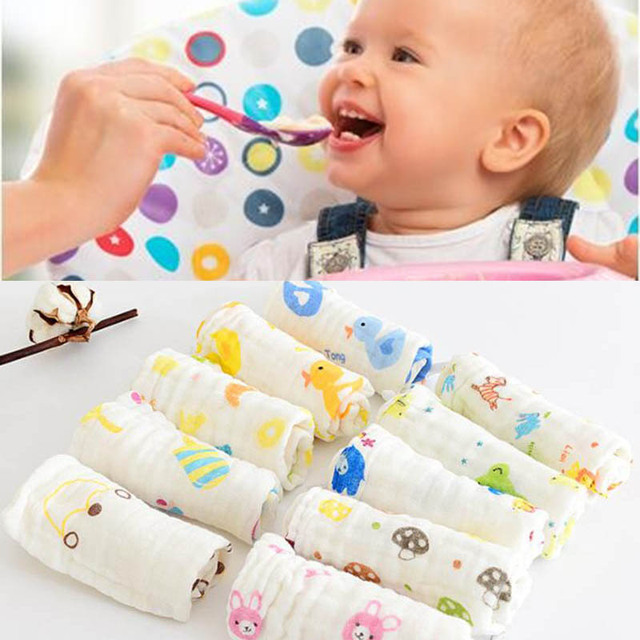 Saliva Towel 6-Layer Cotton Yarn Baby Washcloth Cotton Random Pattern Lunch Bibs Burp Clothes Washable Towels Toddler Baby