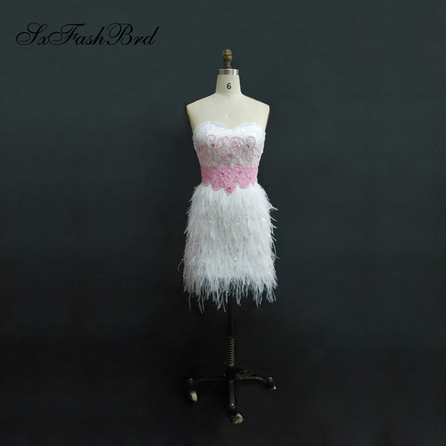 Sexy Fashion Sweetheart With Beaded Sheath Mini Short Ostrich Feather Short Celebrity Dresses Gowns
