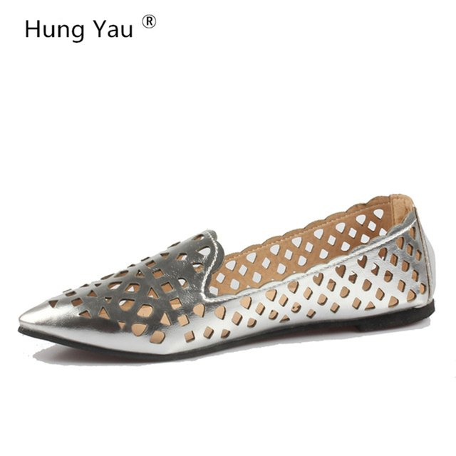 Summer style Women Ballet Flats Round Toe Slip on Shoes Cut-outs Flats Shoes White Sandals Woman Loafers zapatos mujer Size US 8