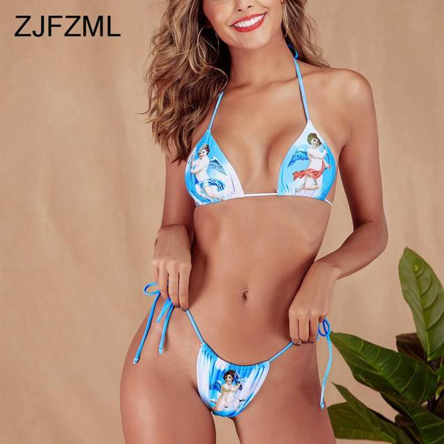 Angel Print Sexy Summer Two Piece Matching Sets Women Halter Backless Crop Top + Tie Up Shorts Beach 2 Piece Women Clothes 2019