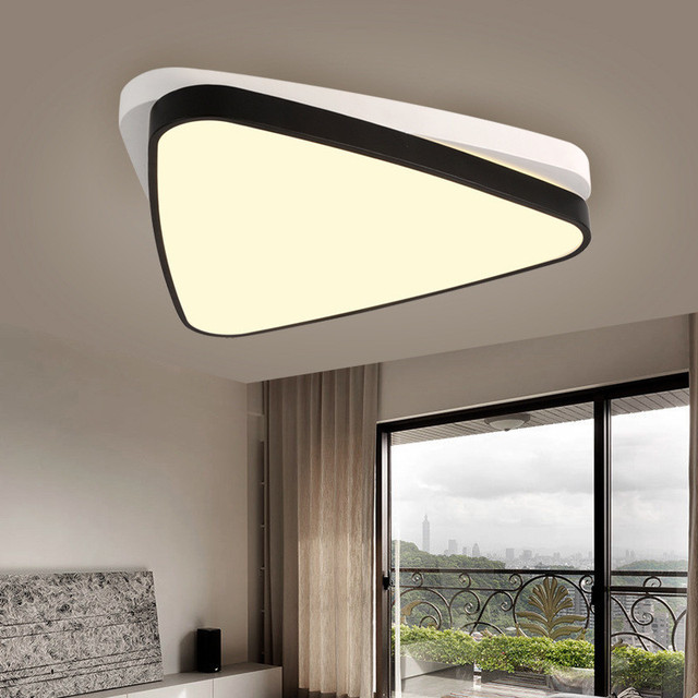 Creative Triangle Overlapping Living Room LED Ceiling Lamp Restaurant Light Black And White Bedroom Cafe Lamp Free Shipping