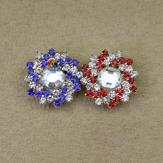 20pcs 25mm Fashion rhinestone button Gold set DIY browband furniture Garment Shoes decoration Royal Red Crystal Centerpieces