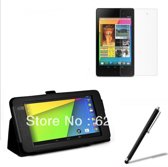 Folio Stand Leather Case Cover +1x Soft Screen Protector Film +1x Stylus For Google Nexus 7 II 2nd 2013 2 Generation 7 inch