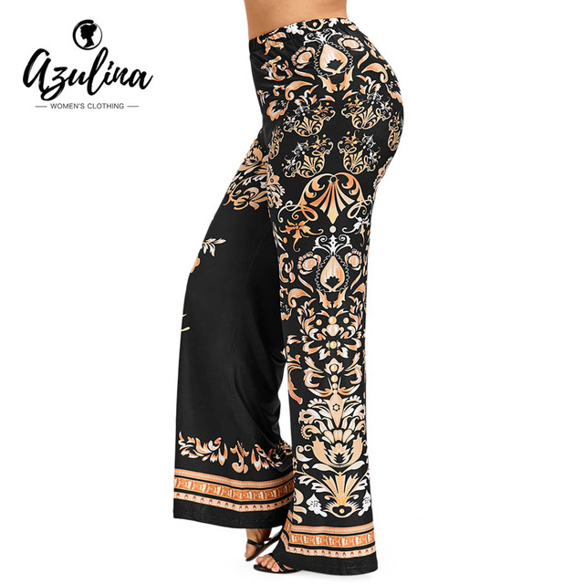 Rosegal Plus SIze Baroque Print Palazzo Pants Casual Overlength High Elastic Waist Wide Leg Pants Women Pant Trousers Clothing