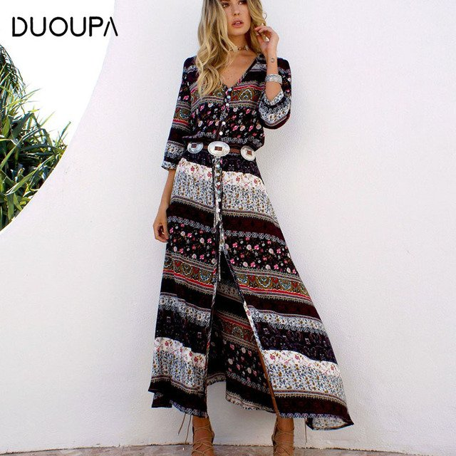 DUOUPA 2020 new Bohemian printing long dress women maxi long dress floral print retro hippie chic brand clothing boho dress
