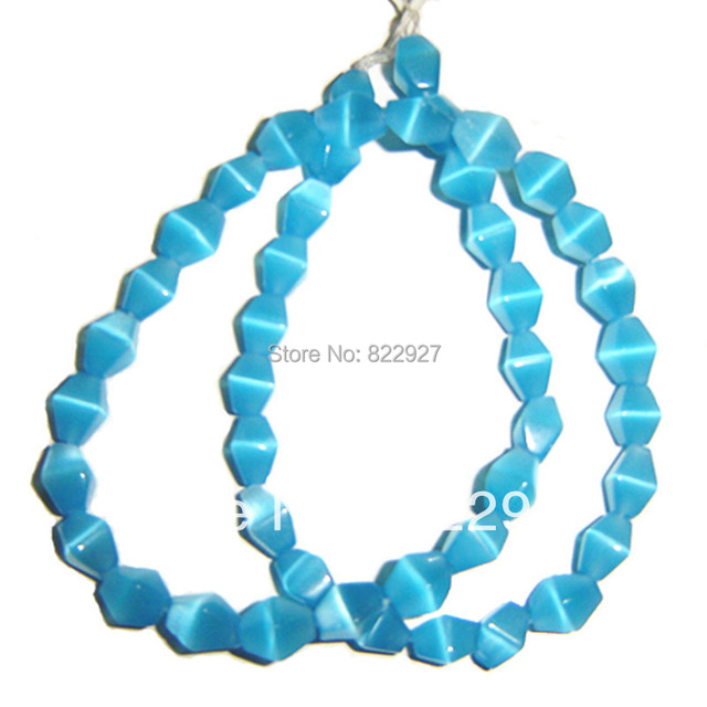 6x9mm eight angle shape blue/powder/aqua/white glass cats eye beads,45 pieces per strand,1.2mm hole for your jewelry use