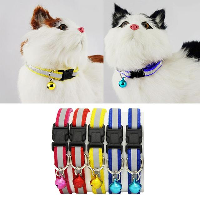 1pc Adjustable Pet Cat Dog Puppy Reflective Collars Safety Buckle Bell Neck Strap Dog Supplies Cat Collars Pet supplies Products