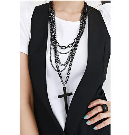 Maiden's prayer multilayer cross necklace  girl's necklace sweater chain UN041
