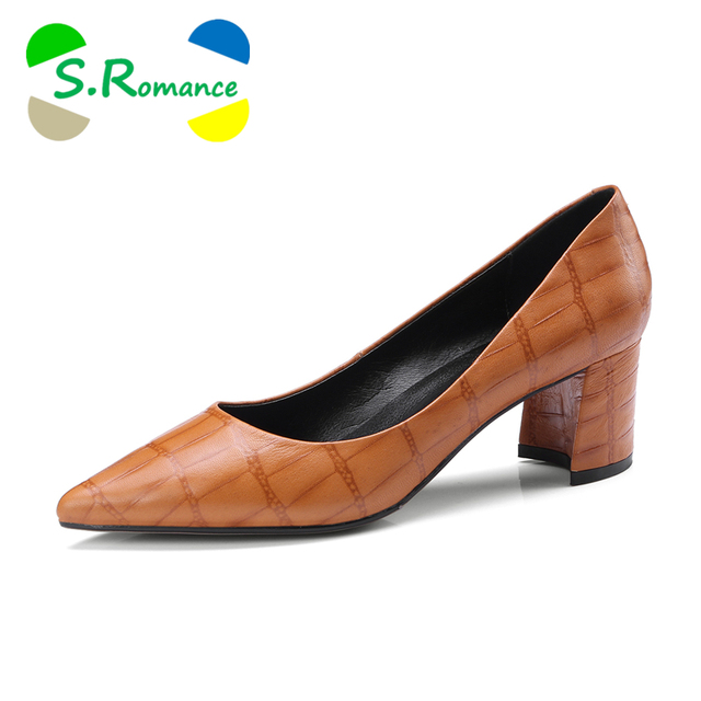S.Romance Women Pumps 2018 Genuine Leather 34-43 Fashion Slip-On Elegant Pointed Toe Office Lady Woman Shoes Green Yellow SH028