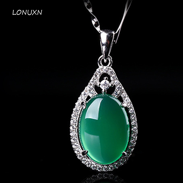 high quality chalcedony pendant green 925 Silver Natural semi-precious stones chalcedony vintage Necklace Pendant with chain