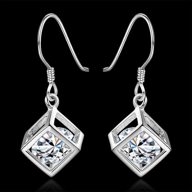 Free Shipping!!Wholesale silver plated Earring,925 jewelry silver,Square Stone Earrings SMTE583