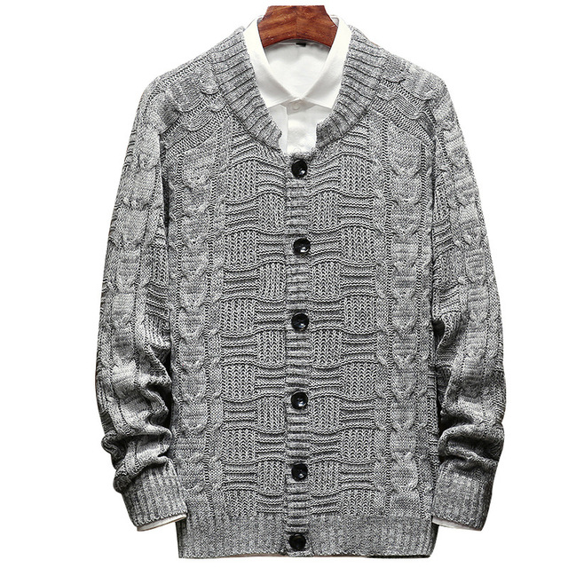 2018 Spring and Autumn New Knit Cardigan Sweater Fashion Loose Sweater Coat Men's Sweater