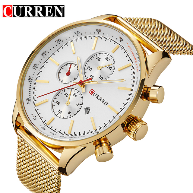 CURREN Top Brand Luxury Gold Quartz Watches Men Fashion Casual Army Military Sport Wrist Watches Business Clock Male 8227