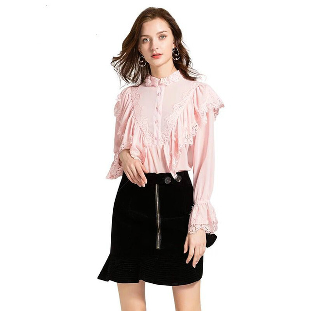 Fashion Women's Blouses Lace Patchwork Ruffles Flare Sleeves 2018 Autumn Female Sweet Designer Collage Shirts Solid White Tops