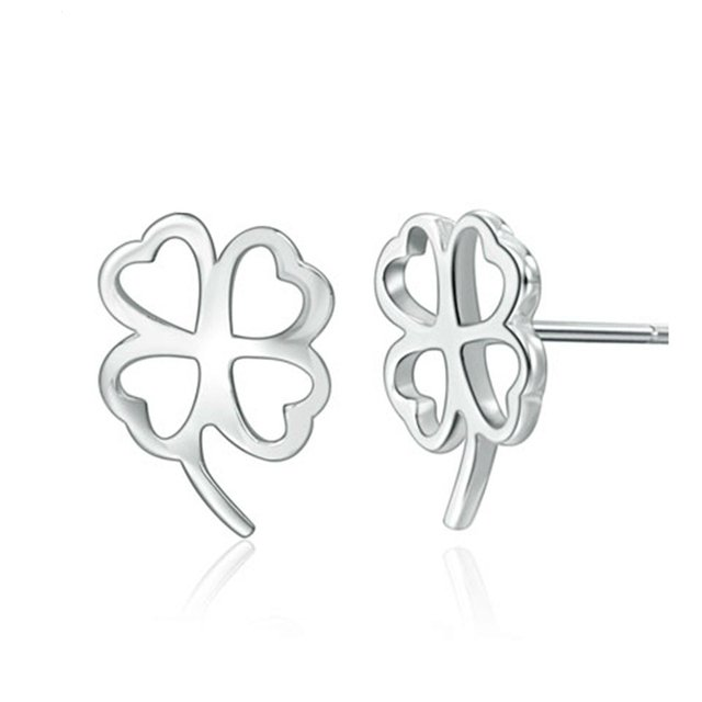 Silver Color Clover Stud Earrings Simple Korean Women Fashion Earrings Wholesale